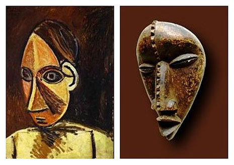 Picasso's painting and an African mask